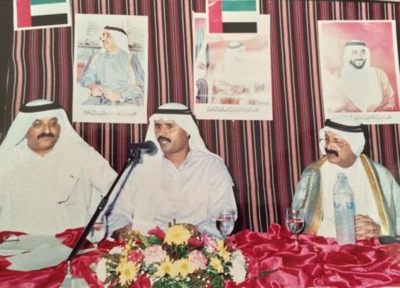 مع عبدالقادر العفيفي (اقصى اليممين) في احدى المناسبات في ابوظبي في الثمانينات